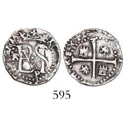 Potosi, Bolivia, cob 1/2 real, Philip II, assayer B to left (3rd period), mintmark P below monogram.