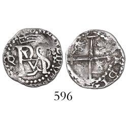 Potosi, Bolivia, cob 1/2 real, Philip III, assayer Q/C (very rare) to left of monogram.