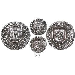 Potosi, Bolivia, cob 1/4 real, Philip II, assayer R (Rincon) to right, mintmark P to left, finest kn