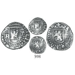 Potosi, Bolivia, cob 1/4 real, Philip II, assayer B to left (2nd period), mintmark P to right, rare.