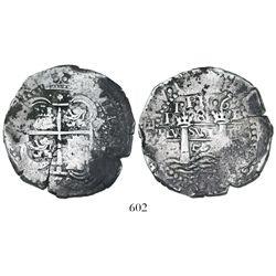 Potosi, Bolivia, cob 8 reales, 1652E post-transitional (Transitional Type VIII/B), 1•PH•6 at top.