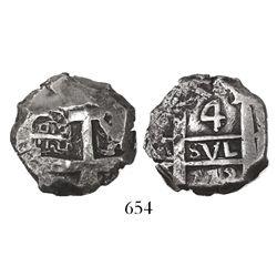 Potosi, Bolivia, cob 4 reales, 1773(V-Y), rare final date of cobs.