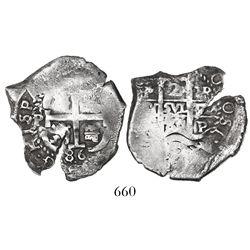 Potosi, Bolivia, cob 2 reales, 1686VR.