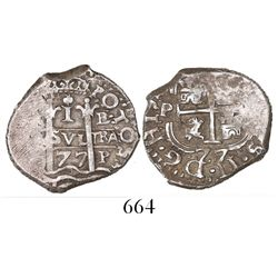 Potosi, Bolivia, cob 1 real, 1677/6E (overdate on cross side only), rare, ex-Mark Bir collection.