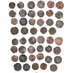 Lot of 23 Santo Domingo, Dominican Republic, copper 4 maravedis, Charles-Joanna, assayer F or oF.