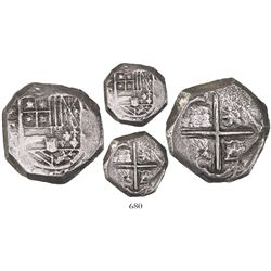 Cartagena, Colombia, cob 4 reales, Philip IV, assayer not visible ( E ), mintmark RN (late 1620s), r