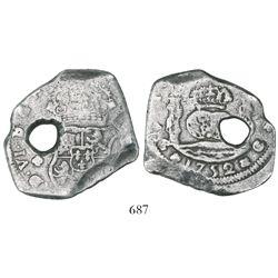 Guatemala, cob 8 reales, 1752/1J, rare overdate.