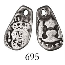 Guatemala, cob 1/2 real, 1753J, rare final date of Guatemala cobs.