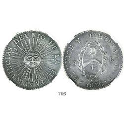La Rioja, Argentina (River Plate Provinces), 8 reales, 1836P, encapsulated NGC AU 55.