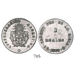 La Rioja, Argentina, 2 reales, 1860-B.
