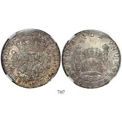 Potosi, Bolivia, pillar 8 reales, Charles III, 1767JR, 4-petal rosettes, rare first date of series,