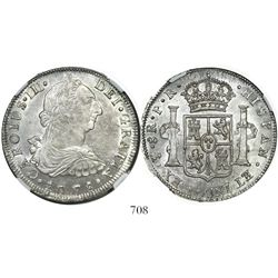 Potosi, Bolivia, bust 8 reales, Charles III, 1778PR, encapsulated NGC MS 62.