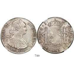 Potosi, Bolivia, bust 8 reales, Charles IV, 1805PJ, encapsulated NGC AU 53.