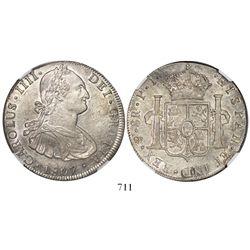 Potosi, Bolivia, bust 8 reales, Charles IV, 1807PJ, encapsulated NGC AU 58.