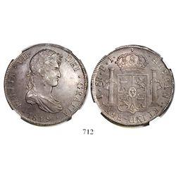 Potosi, Bolivia, bust 8 reales, Ferdinand VII, 1819PJ, encapsulated NGC AU 58.
