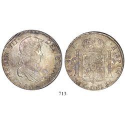 Potosi, Bolivia, bust 8 reales, Ferdinand VII, 1825J, rare single assayer, encapsulated NGC AU 55, s
