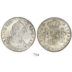 Potosi, Bolivia, bust 4 reales, Charles III, 1775JR, encapsulated NGC AU 53, second finest known in