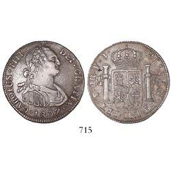 Potosi, Bolivia, bust 4 reales, Charles IV, 1807PJ.