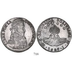 Potosi, Bolivia, 8 soles, 1827JM, large alpacas.