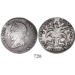 La Paz, Bolivia, 2 soles, 1856P, very rare (10 known).