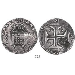 "Brazil, 500 reis, Afonso VI, crowned-""SOO"" countermark (1663) on a Lisbon, Portugal, cruzado of Joao"