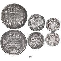 Lot of 3 coins of Pernambuco, Brazil, Pedro II: 640 reis 1700; 160 reis 1701; and 80 reis 1701.