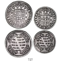 Lot of 2 coins (320 and 160 reis) of Brazil (Bahia mint), 1695, large crown.