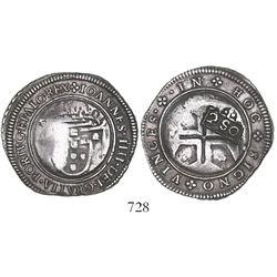 "Brazil, 250 reis, Pedro II, crowned-""2SO"" countermark (1688) on a Lisbon, Portugal, 1/2 cruzado of J"