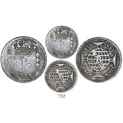 Brazil (Bahia mint), 150 reis, Jose I, 1753-B, rare.