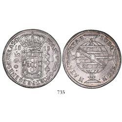 Brazil (Bahia mint), 960 reis, Joao Prince Regent, 1813-B, REGENES variety (rare), struck over a Spa