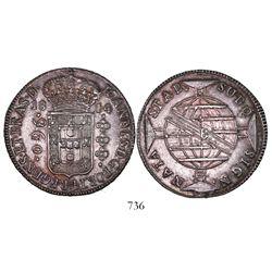 Brazil (Bahia mint), 960 reis, Joao Prince Regent, 1814-B, struck over an earlier 960 reis.