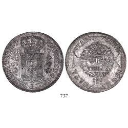 Brazil (Rio mint), 960 reis, Joao Prince Regent, 1817-R, struck over a Spanish colonial bust 8 reale