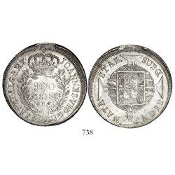 Brazil (Rio mint), 960 reis, Joao VI, 1818-R, struck over a Spanish colonial bust 8 reales, encapsul