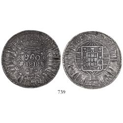 Brazil (Rio mint), 960 reis, Joao VI, 1818-R, struck over a Spanish colonial bust 8 reales.