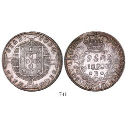 Brazil (Bahia mint), 960 reis, Joao VI, 1820-B, struck over a Mexico City, Mexico, bust 8 reales of