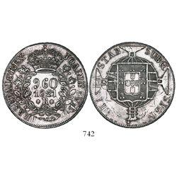 "Brazil (Rio mint), 960 reis, 1821-R, denomination as ""9.60"" (rare), struck over a Spanish colonial b"