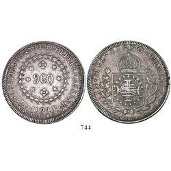 Brazil (Rio mint), 960 reis, Pedro I, 1824-R, rare error with CONS.TIMP, struck on Spanish colonial