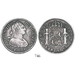 Santiago, Chile, bust 4 reales, Charles IV, 1808FJ.