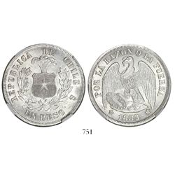 Santiago, Chile, 1 peso, 1883, round-top 3, encapsulated NGC MS 63.