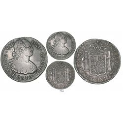 Popayan, Colombia, bust 8 reales, Ferdinand VII (bust of Charles IV), 1810JF (date altered), Calbeto