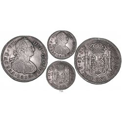 Popayan, Colombia, bust 8 reales, Ferdinand VII (bust of Charles IV), 1813/2JF, very rare, finest kn