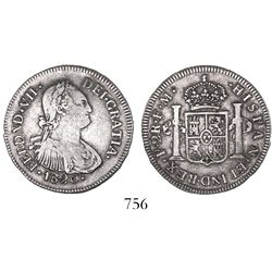 Popayan, Colombia, bust 2 reales, Ferdinand VII (bust of Charles IV), 1820FM.