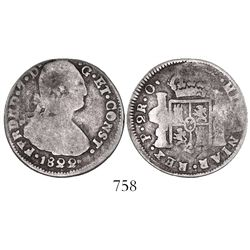 Pasto/Popayan, Colombia, bust 2 reales, Ferdinand VII, 1822O, two dots between CONST and date.