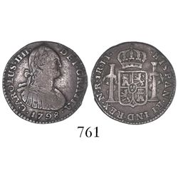 Bogota, Colombia, bust 1 real, Charles IV, 1798JJ.