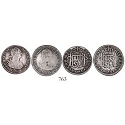 Lot of 2 Bogota, Colombia, bust 1R: Charles IV, 1792JJ, no dot in NR;  Ferdinand VII (bust of Charle