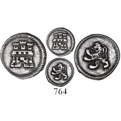 Bogota, Colombia, 1/4 real, Ferdinand VI or Charles III, anepigraphic issue with pillar-type castle