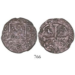 """Cartagena, Colombia, copper 2 reales, fantasy date """"800"""" (ca. 1815), with 4R cross side, extremely r"""