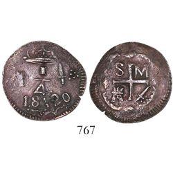 "Santa Marta, Colombia, copper 1/4 real, Ferdinand VII, 1820, date appearing as ""18820,"" Restrepo Pla"