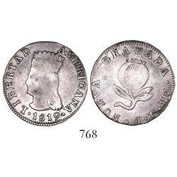 "Bogota, Colombia, 2 reales, 1819JF, ""LIBERTAD AMERICANA,"" denomination in legend."