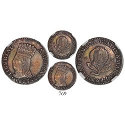 "Bogota, Colombia, 1 real, 1813JF, ""LIBERTAD AMERICANA,"" encapsulated NGC AU 50."